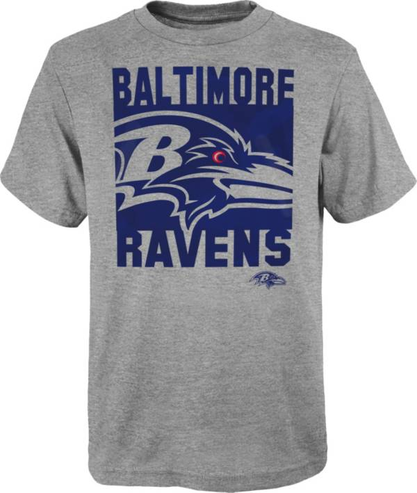NFL Team Apparel Youth Baltimore Ravens Grey Element T-Shirt product image