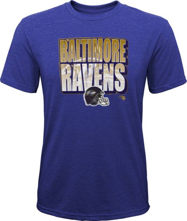 NFL Team Apparel Youth Baltimore Ravens Stack Tri-Blend Purple T-Shirt product image
