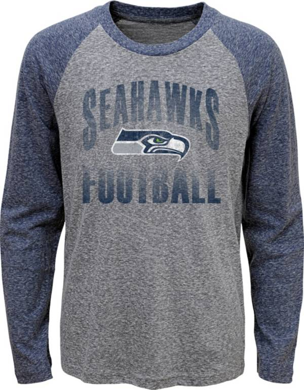 NFL Team Apparel Youth Seattle Seahawks 'Go For It' Tri-Blend Grey Long Sleeve Shirt product image