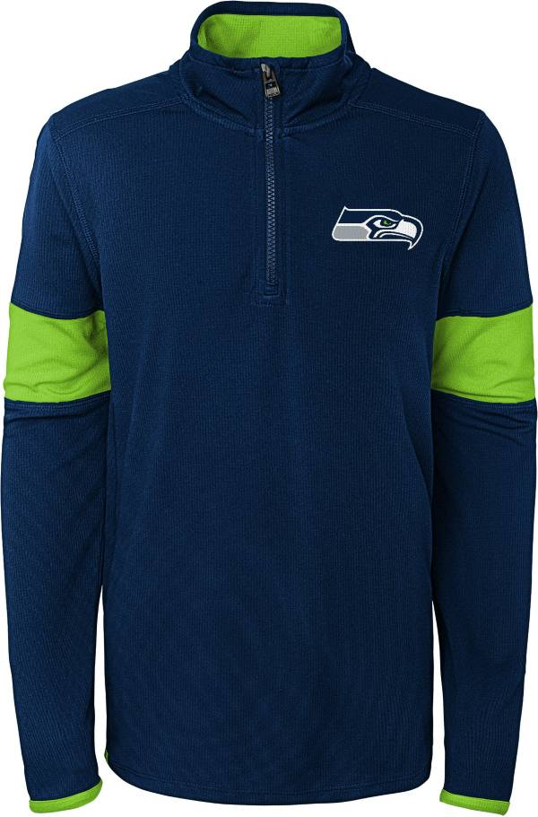 NFL Team Apparel Youth Seattle Seahawks Yard Line Navy Quarter-Zip product image
