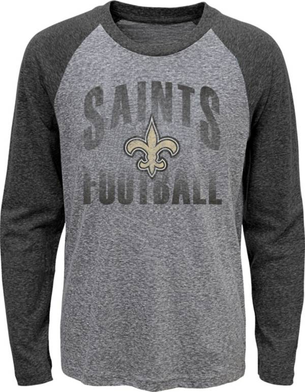 NFL Team Apparel Youth New Orleans Saints 'Go For It' Tri-Blend Grey Long Sleeve Shirt product image