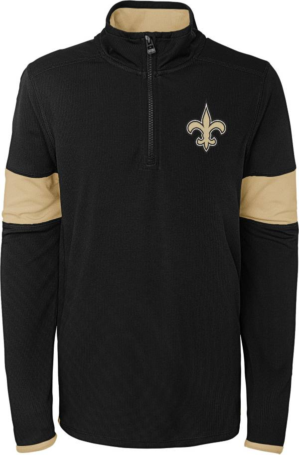 NFL Team Apparel Youth New Orleans Saints Yard Line Black Quarter-Zip product image