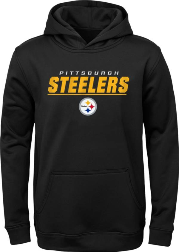 NFL Team Apparel Youth Pittsburgh Steelers Static Black Pullover Hoodie product image