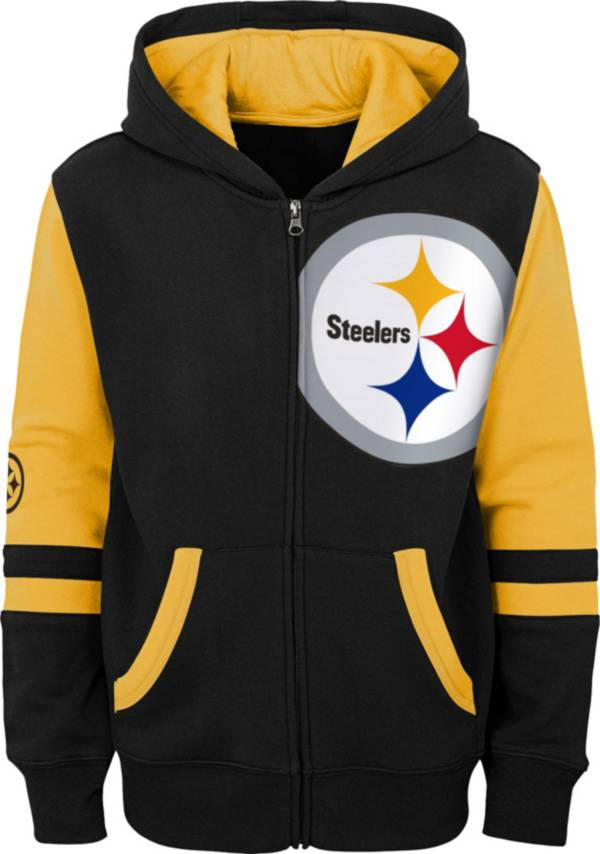 NFL Team Apparel Youth Pittsburgh Steelers Color Block Full-Zip Hoodie product image