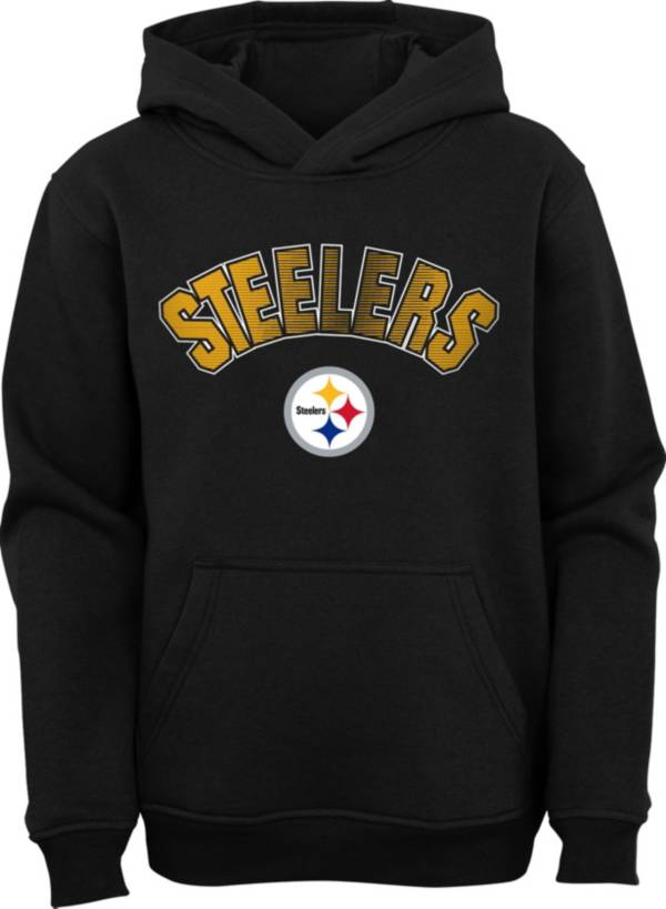 NFL Team Apparel Youth Pittsburgh Steelers Black Defense Pullover Gaiter Hoodie product image