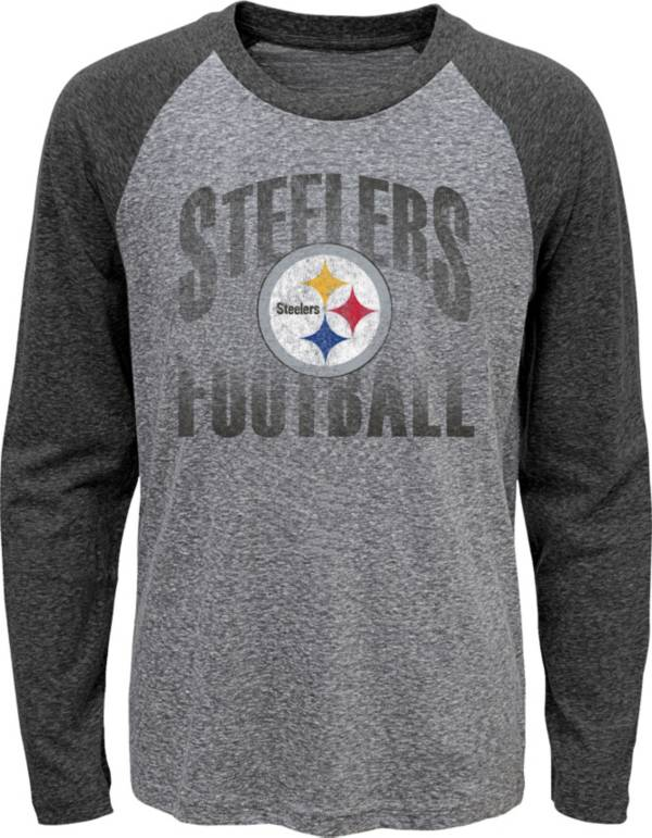NFL Team Apparel Youth Pittsburgh Steelers 'Go For It' Tri-Blend Grey Long Sleeve Shirt product image