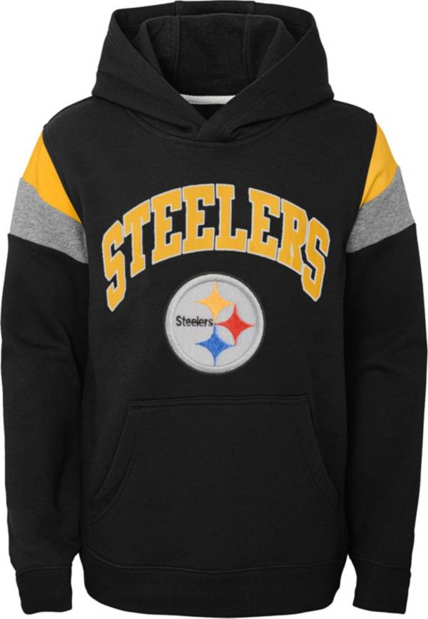 NFL Team Apparel Youth Pittsburgh Steelers Retro Color Block Pullover Hoodie product image