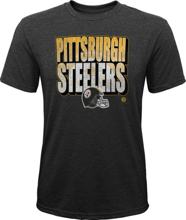 NFL Team Apparel Youth Pittsburgh Steelers Stack Tri-Blend Black T-Shirt product image