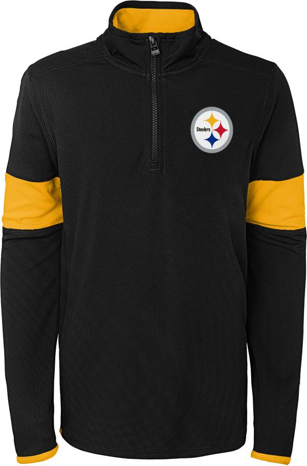 NFL Team Apparel Youth Pittsburgh Steelers Yard Line Black Quarter-Zip product image