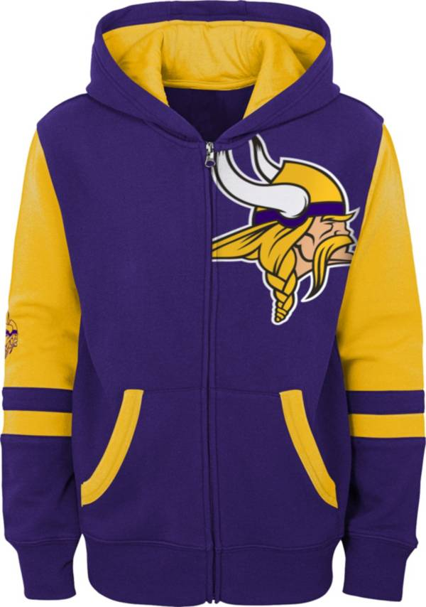 NFL Team Apparel Youth Minnesota Vikings Color Block Full-Zip Hoodie product image