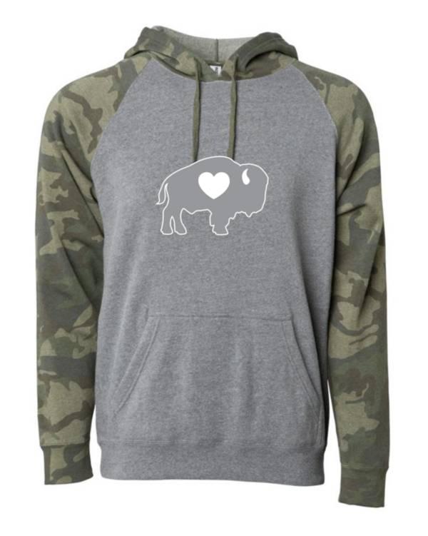 BuffaLove Men's Camo/Heather Grey Pullover Sweatshirt product image