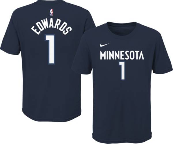 Nike Youth Minnesota Timberwolves Anthony Edwards #1 Navy Cotton T-Shirt product image