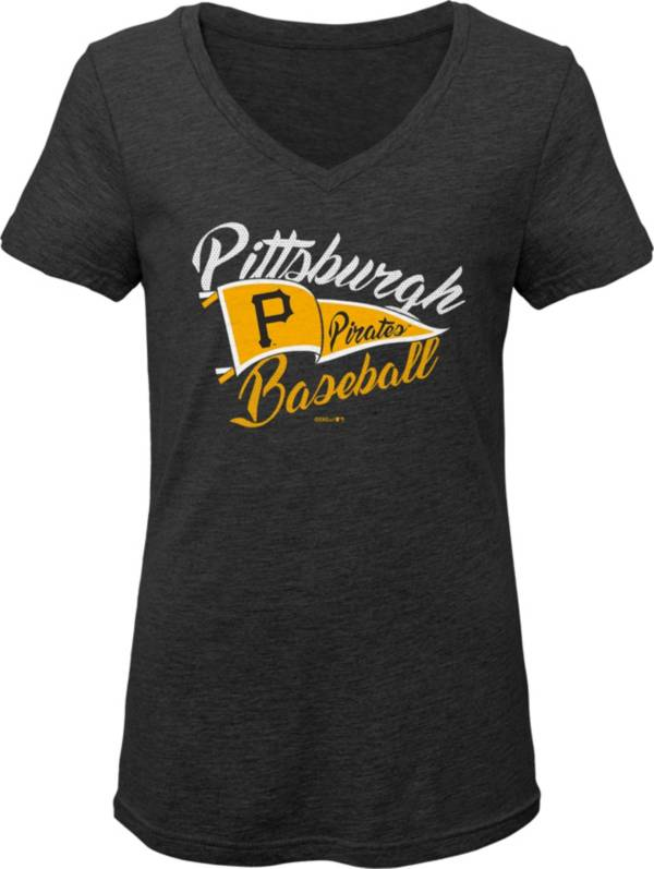 Gen2 Youth Girls' Pittsburgh Pirates Black Fly the Flag V-Neck T-Shirt product image