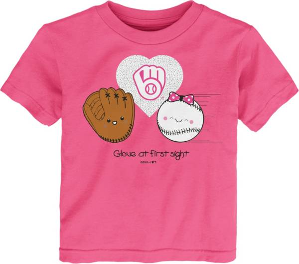 Gen2 Youth Toddler Girl's Milwaukee Brewers Pink 'Glove at First Sight' T-Shirt product image