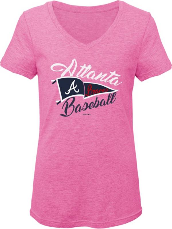 Gen2 Youth Girls' Atlanta Braves Pink Fly the Flag V-Neck T-Shirt product image