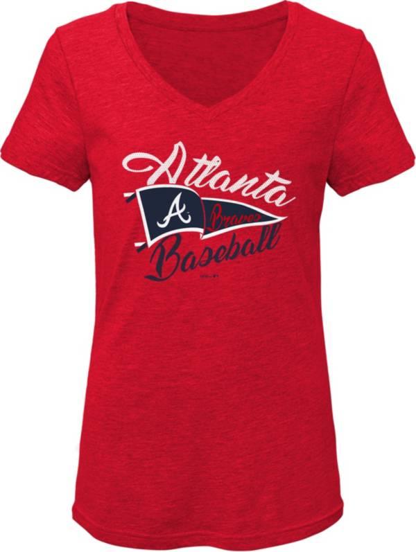 Gen2 Youth Girls' Atlanta Braves Red Fly the Flag V-Neck T-Shirt product image