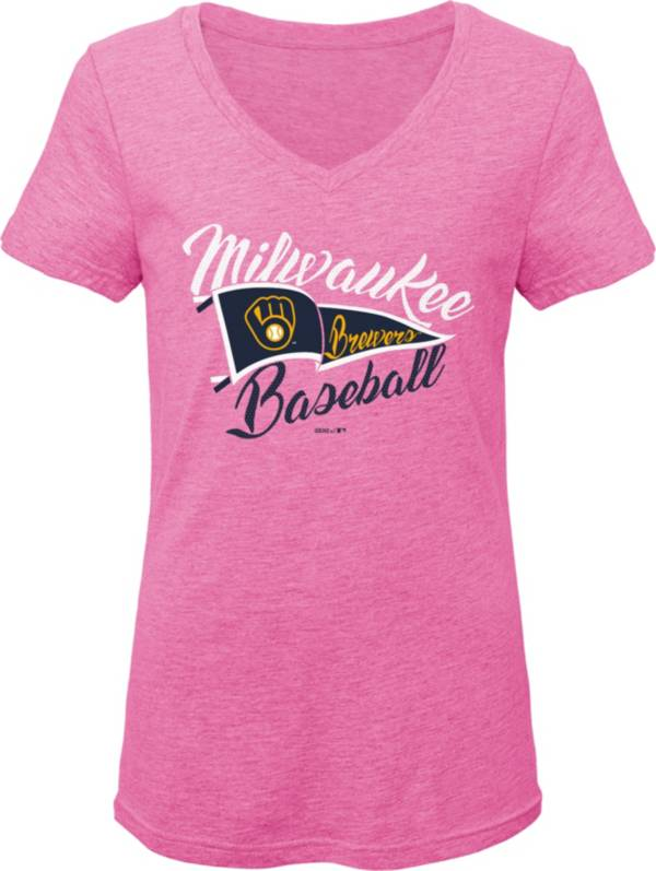 Gen2 Youth Girls' Milwaukee Brewers Pink Fly the Flag V-Neck T-Shirt product image