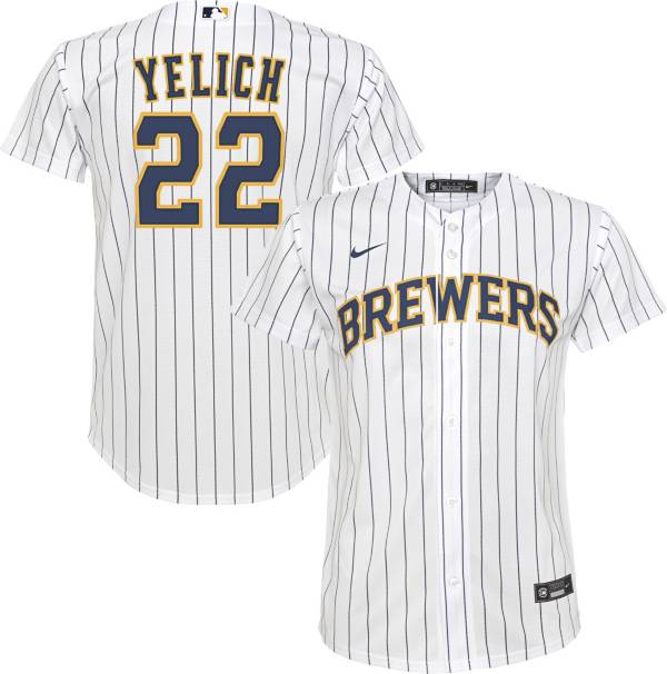 Nike Youth Replica Milwaukee Brewers Christian Yelich #22 Cool Base White Jersey product image