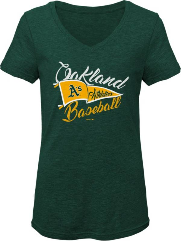 Gen2 Youth Girls' Oakland Athletics Green Fly the Flag V-Neck T-Shirt product image
