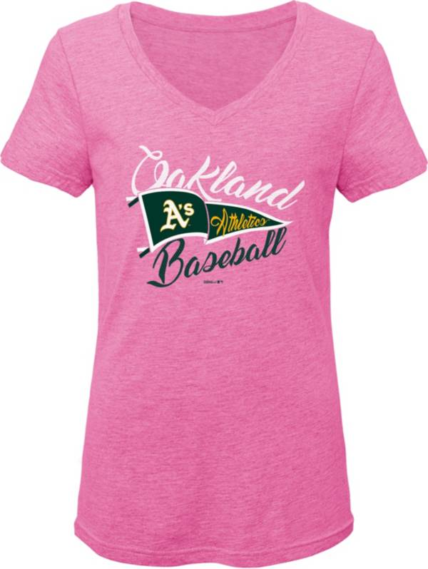 Gen2 Youth Girls' Oakland Athletics Pink Fly the Flag V-Neck T-Shirt product image
