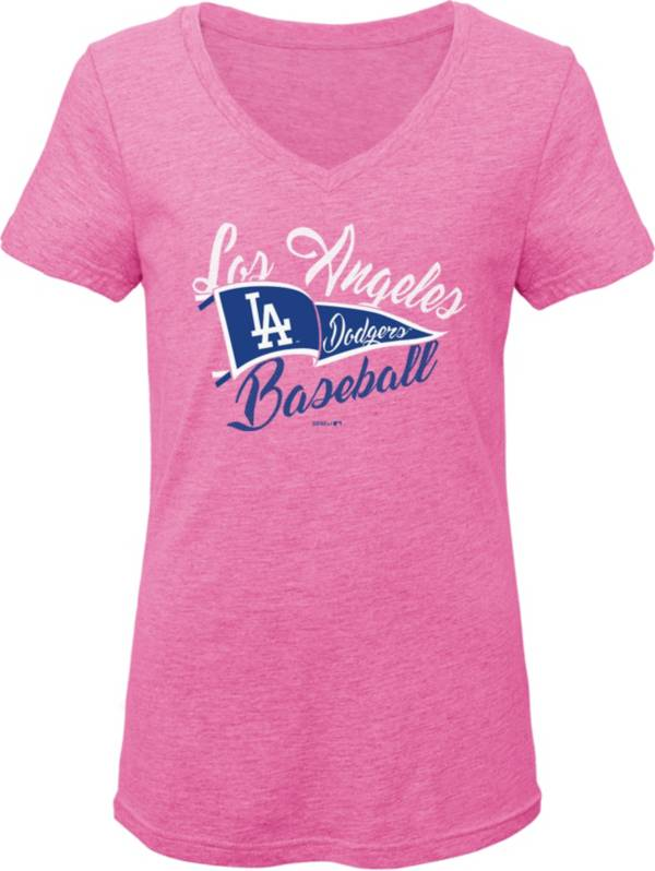 Gen2 Youth Girls' Los Angeles Dodgers Pink Fly the Flag V-Neck T-Shirt product image