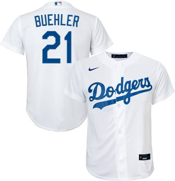 Nike Youth Replica Los Angeles Dodgers Walker Buehler #21 Cool Base White Jersey product image