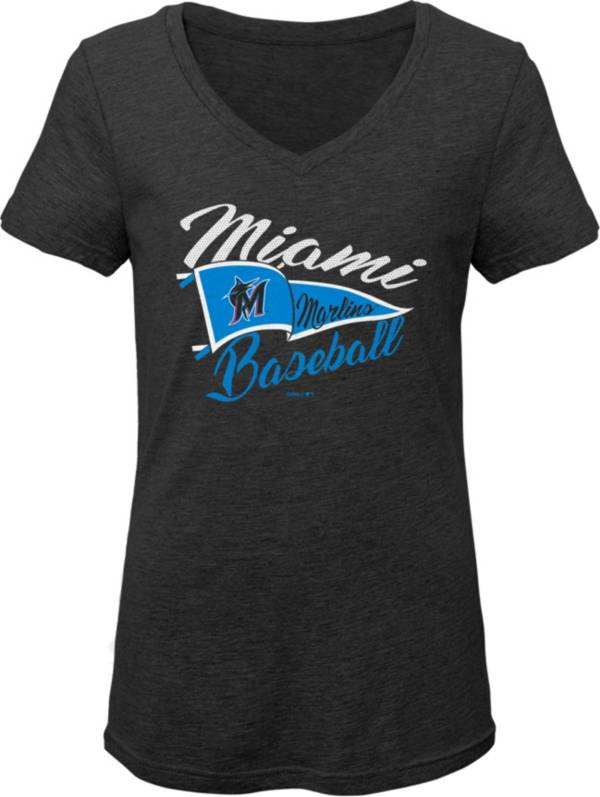 Gen2 Youth Girls' Miami Marlins Black Fly the Flag V-Neck T-Shirt product image