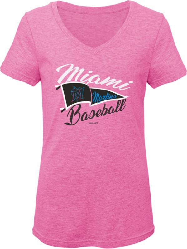 Gen2 Youth Girls' Miami Marlins Pink Fly the Flag V-Neck T-Shirt product image