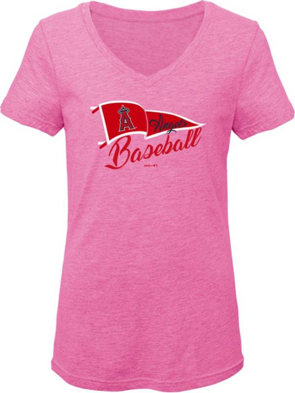 Gen2 Youth Girls' Los Angeles Angels Pink Fly the Flag V-Neck T-Shirt product image