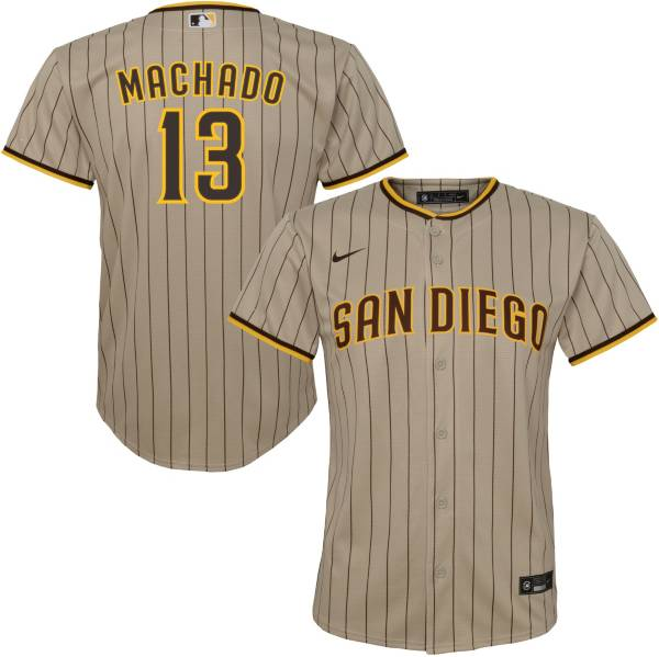 Nike Youth Replica San Diego Padres Manny Machado #13 Cool Base Brown Jersey product image