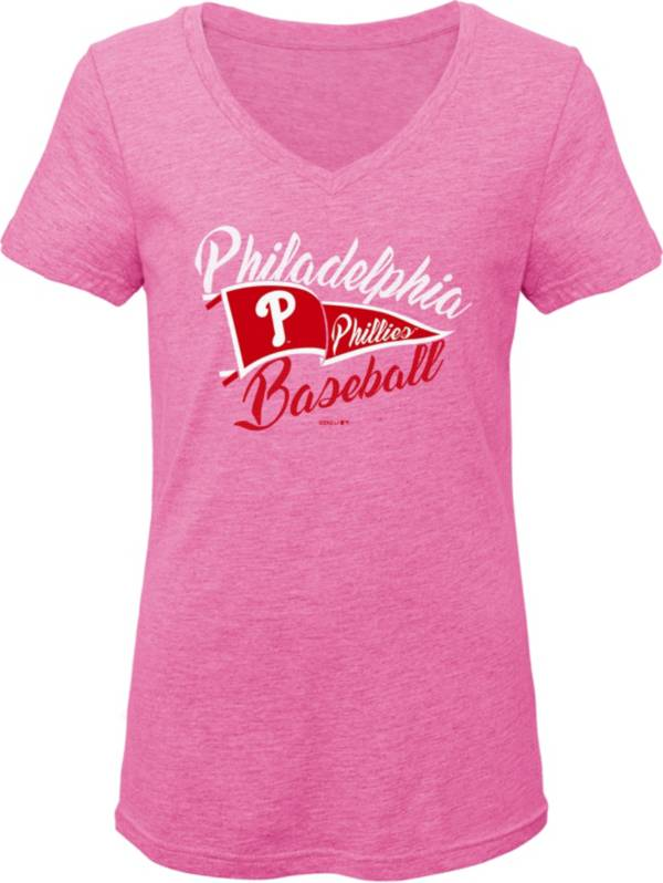 Gen2 Youth Girls' Philadelphia Phillies Pink Fly the Flag V-Neck T-Shirt product image