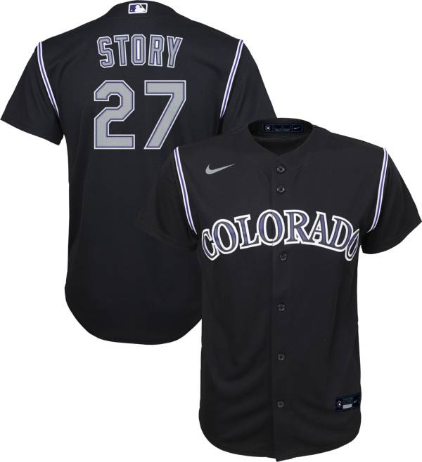 Nike Youth Replica Colorado Rockies Trevor Story #27 Cool Base Black Jersey product image