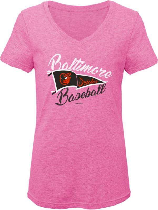 Gen2 Youth Girls' Baltimore Orioles Pink Fly the Flag V-Neck T-Shirt product image