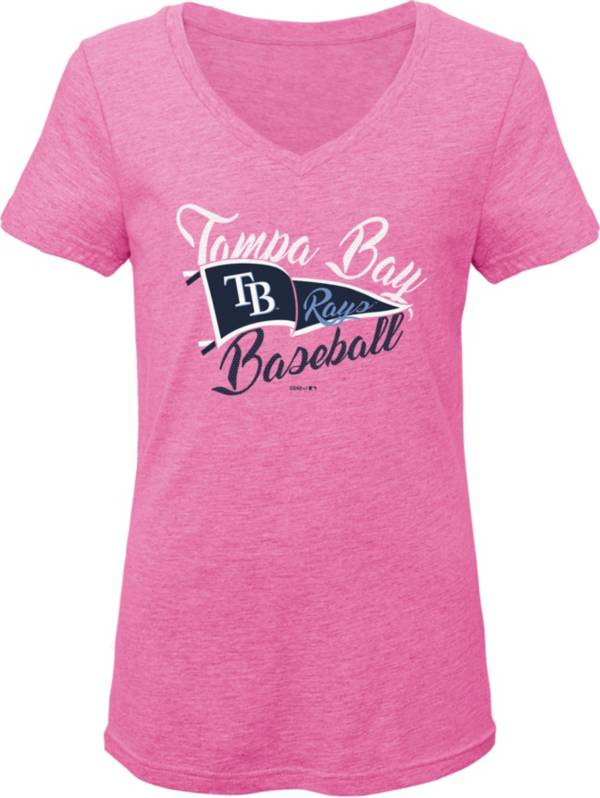 Gen2 Youth Girls' Tampa Bay Rays Pink Fly the Flag V-Neck T-Shirt product image