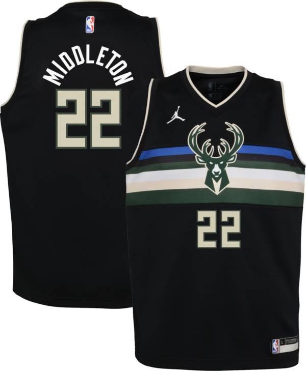 Jordan Youth Milwaukee Bucks Khris Middleton #22 2020-21 Dri-FIT Statement Swingman Black Jersey product image