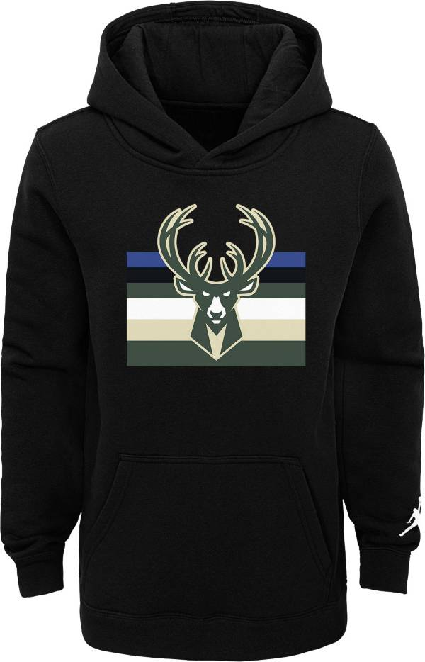 Jordan Youth Milwaukee Bucks Black Statement Pullover Hoodie product image