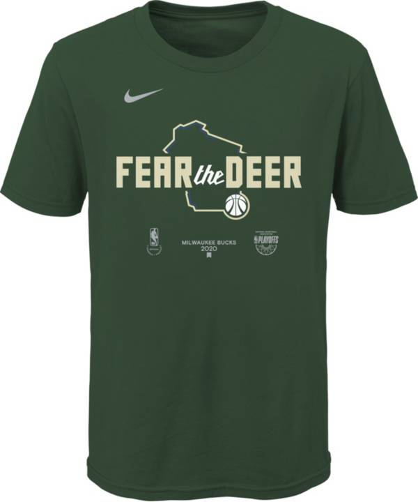 Nike Youth Milwaukee Bucks Green 2020 Playoffs Bound 'Fear the Deer' Mantra T-Shirt product image