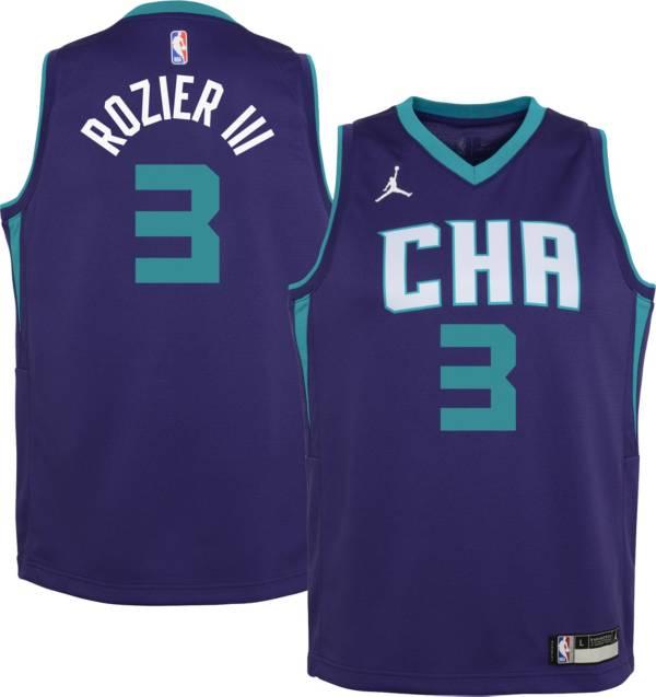 Jordan Youth Charlotte Hornets Terry Rozier III #3 Purple 2020-21 Dri-FIT Statement Swingman Jersey product image