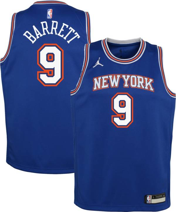 Jordan Youth New York Knicks RJ Barrett #9 Blue 2020-21 Dri-FIT Statement Swingman Jersey product image