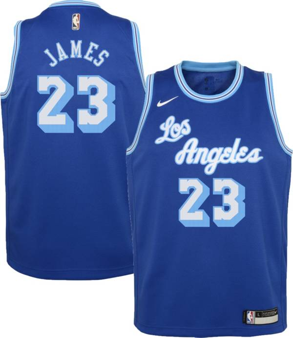 Nike Youth Los Angeles Lakers LeBron James #23 Blue Dri-FIT Hardwood Classic Jersey