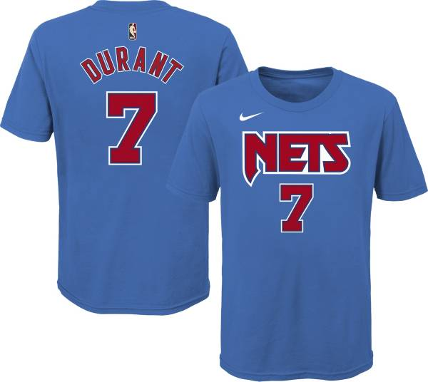 Nike Youth Brooklyn Nets Kevin Durant #7 Blue Hardwood Classic T-Shirt product image