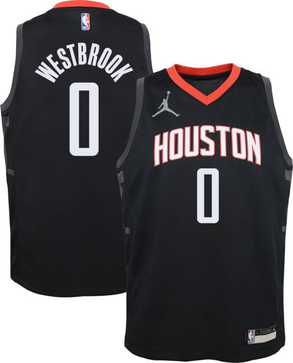 Jordan Youth Houston Rockets Russell Westbrook #0 2020-21 Dri-FIT Statement Swingman Black Jersey product image