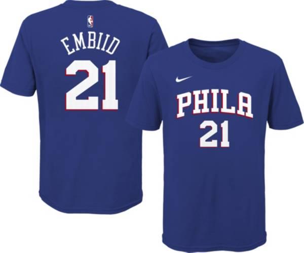 Nike Youth Philadelphia 76ers Joel Embiid #21 Blue Cotton T-Shirt product image