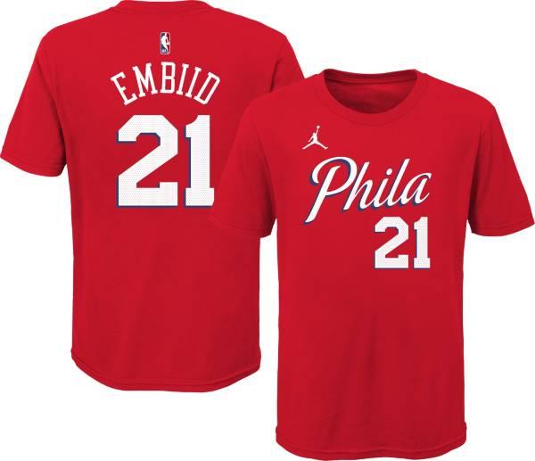 Jordan Youth Philadelphia 76ers Joel Embiid #21 Red Statement T-Shirt product image