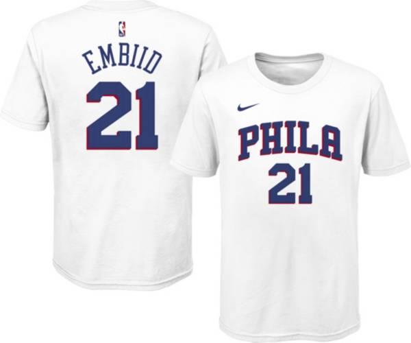 Nike Youth Philadelphia 76ers Joel Embiid #21 Cotton White T-Shirt product image