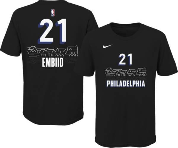 Nike Youth 2020-21 City Edition Philadelphia 76ers Joel Embiid #21 Cotton T-Shirt product image