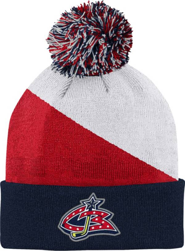 NHL Youth Columbus Blue Jackets Special Edition Diagonal Stripe Blue Pom Knit Beanie product image