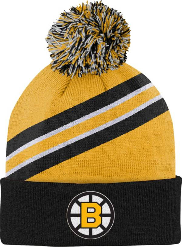 NHL Youth Boston Bruins Special Edition Diagonal Stripe Black Pom Knit Beanie product image