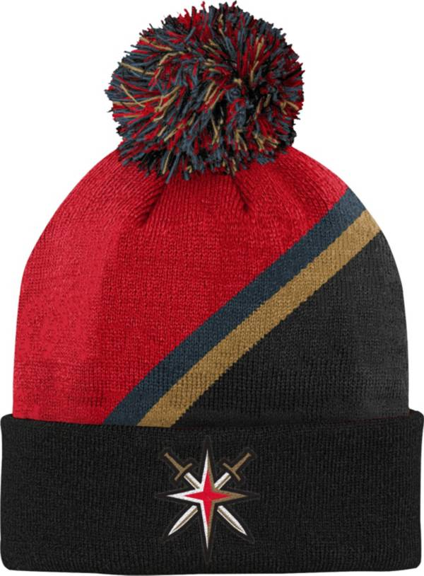NHL Youth Las Vegas Golden Knights Special Edition Diagonal Stripe Red Pom Knit Beanie product image