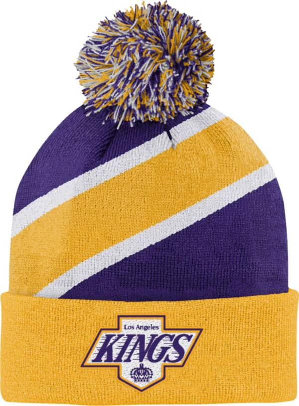 NHL Youth Los Angeles Kings Special Edition Diagonal Stripe Black Pom Knit Beanie product image
